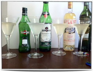 Martinis made with different vermouths. Each martini was made with the vermouth to its right in the photo.