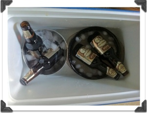 Beer pairs in ice (left) and ice + water bath (right). The cooler lid was utilized between measurements.