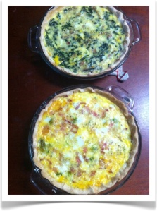 All those eggs were the equivalent of 12 standard chicken eggs. That equals 2 quiches!