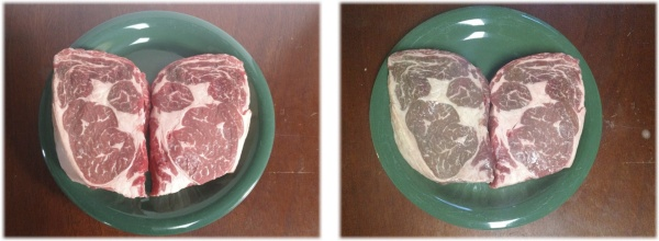 Rib-eye steaks before and after storage.  The left picture shows both steaks before. The right picture shows both steaks after.  Within each picture, the steak on the left was stored in the refrigerator, the steak on the right was frozen and thawed.