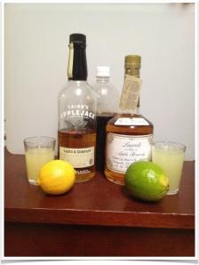 Ingredients for Jack Rose tasting (that's homemade grenadine in the back).