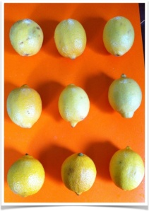 Three sets of lemons, all of which were juiced eventually.
