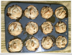All the pie-lets, marked with crust letters to denote the inside flavor