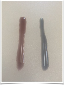 Starting (left) and ending (right) color of the dye bath used to color 6 eggs.