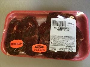 Raw steaks before unpacking.