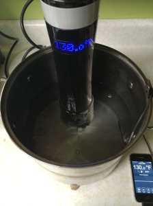 Sous vide rig with the water at a steady 130.0ºF, ready for the meat to be added.