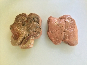 After searing one steak (left) for 30 seconds on each side on a hot cast iron skillet. The other steak (right) was left unseared.
