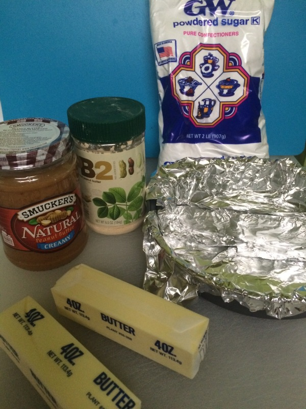Ingredients for peanut butter fudge!