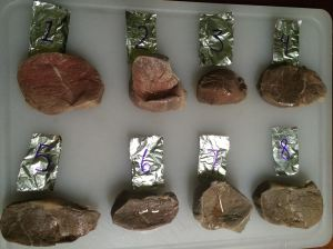 Chuck tender steaks post hot-tubbing. Numbers indicate how many hours they were in the bath. Steaks are un-salted, and un-seared.