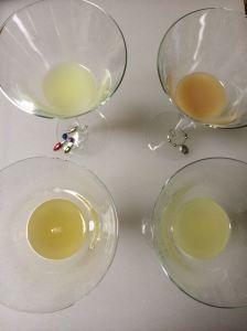 Four lemon juices, clockwise from upper left: lemon grenade, keywest, fresh lemon, fresh meyer lemon.
