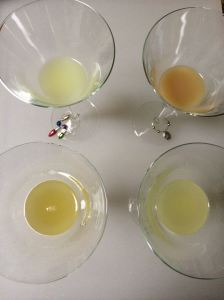 Four lemon juices, clockwise from upper left: lemon grenade, keywest, fresh lemon, fresh meyer lemon.