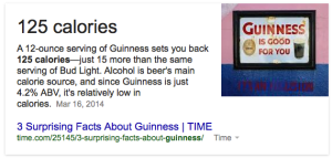 Another piece of evidence indicates Guinness has 125 calories.