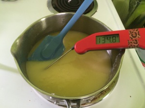 Checking the temperature of the butter and sugar mixture... a tad higher than the 120°F target (oops).