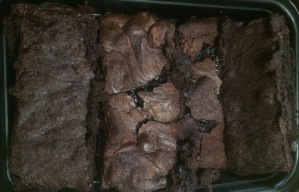 Finished brownies. From left to right: V1, V2, V3, V4 (see previous image).