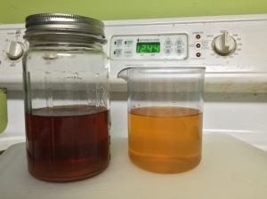 Unwashed (left) versus boozewashed (right) vodka. Note the distinct color difference.