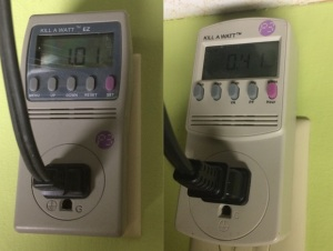 Kill A Watts with final kWh measurements for the slower cooker (left) and pressure cooker (right).