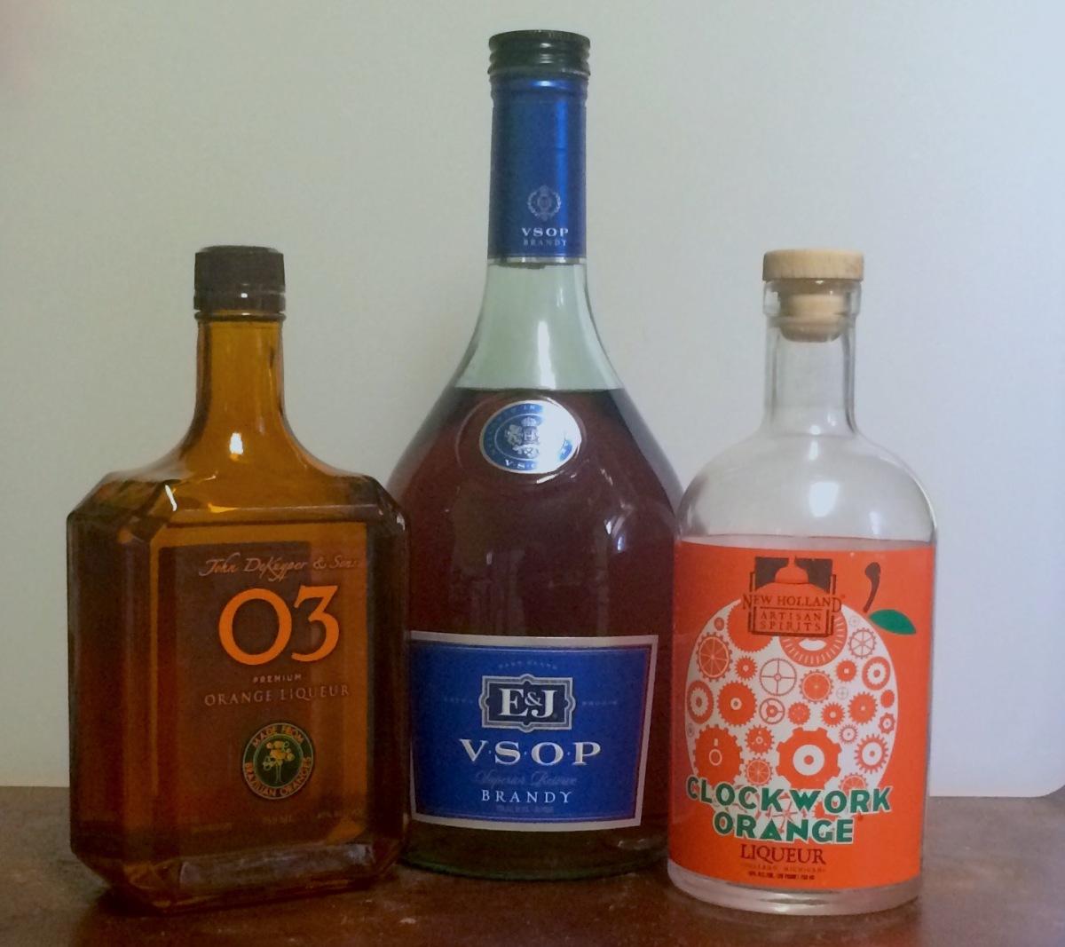 O3 orange liqueur, brandy, and New Holland's Clockwork Orange
