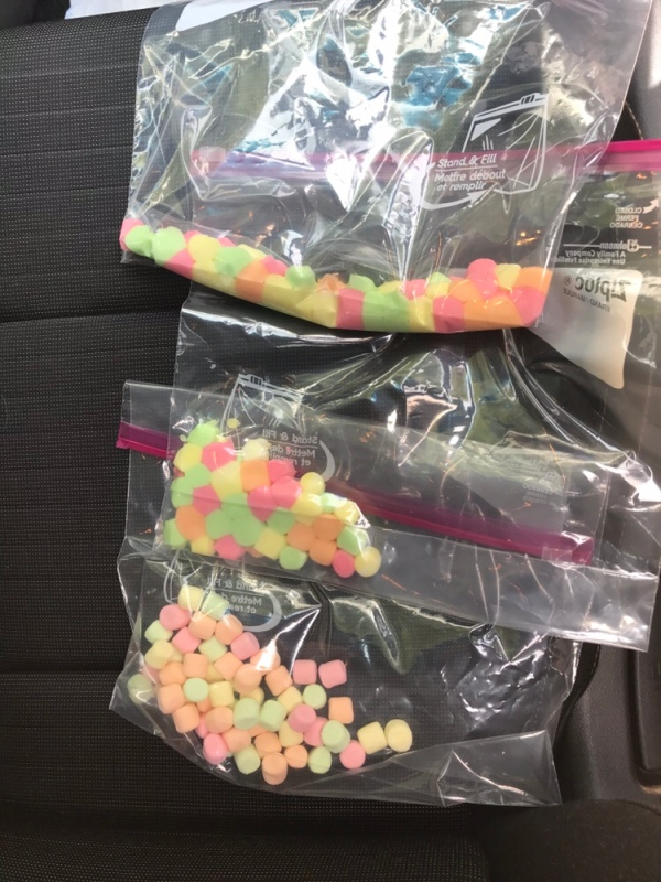 3 bags of multi colored marshmallows.