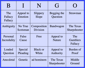 Logical Fallacy Bingo Board