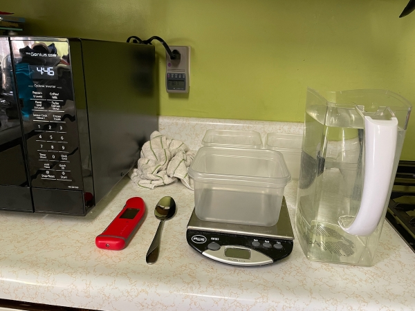Equipment and supplies needed to measure microwave's performance.