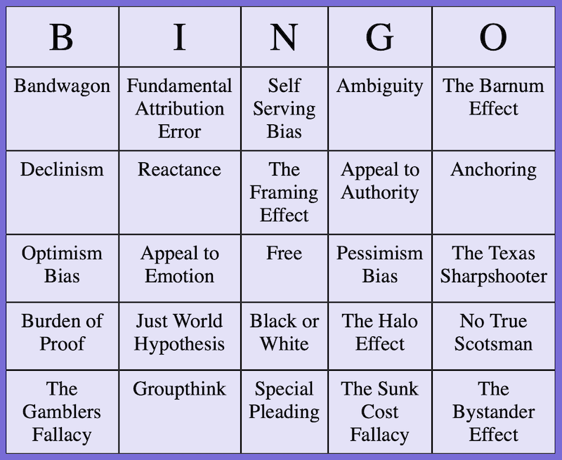 Bingo board showing 24 logical fallacies and cognitive biases with a free square in the center.