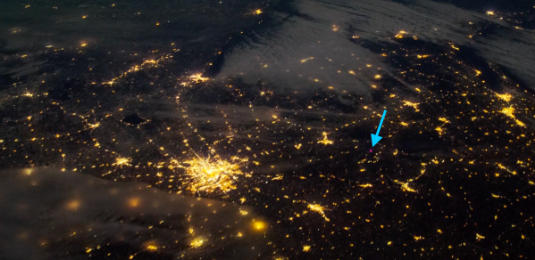 Night image showing the purple dot